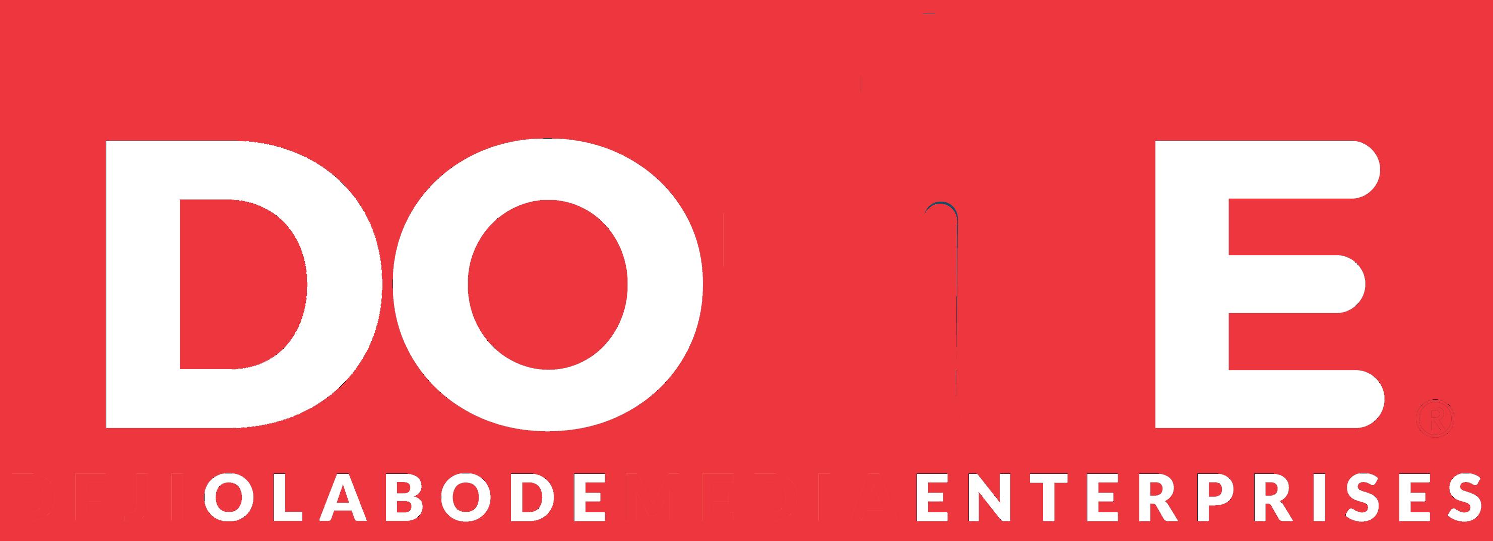 Deji Olabode Media Enterprises white Logo